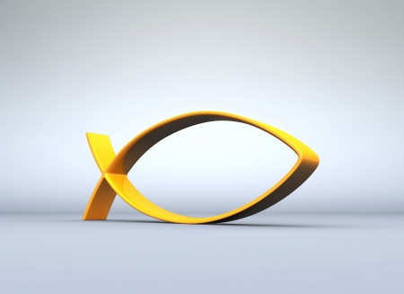 pentecost: 3D ICHTHYS gold on gray 04