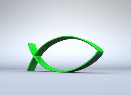 pez cristiano: Símbolo del pez verde sobre gris 07