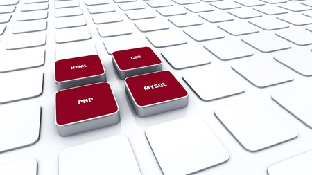 3D red pads - PHP MYSQL HTML CSS 11 Stock Photo - 16451955