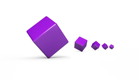 3 d illustrations: Dice episode Violet White 2