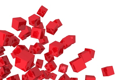 3 d illustrations: Flying cubes Blend - Red isolated 4