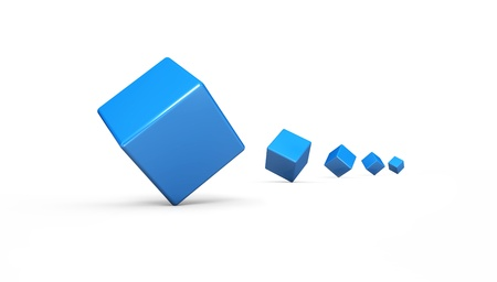 3 d illustrations: Cubes in a row Blue 2 Stock Photo