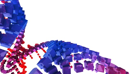 3 d illustrations: 3D background - Flying dice spiral blue red 6