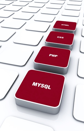 3D red pads - PHP MYSQL HTML CSS 7 Stock Photo - 18371617