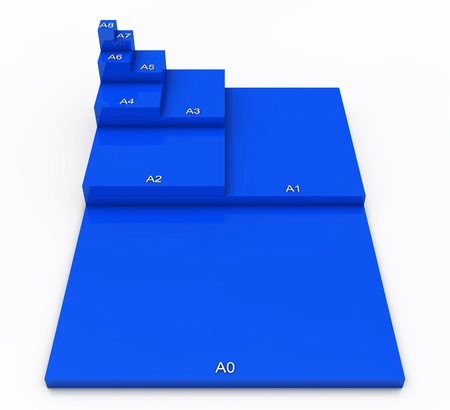3D format DIN A0 to A8 concept - Blue 01 photo