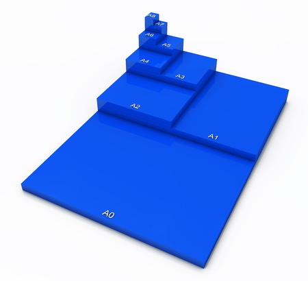 din: 3D format DIN A0 to A8 concept - Blue 01