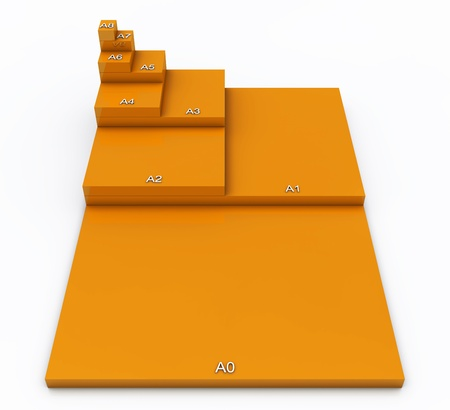 din: 3D format DIN A0 to A8 concept - Orange 01 Stock Photo