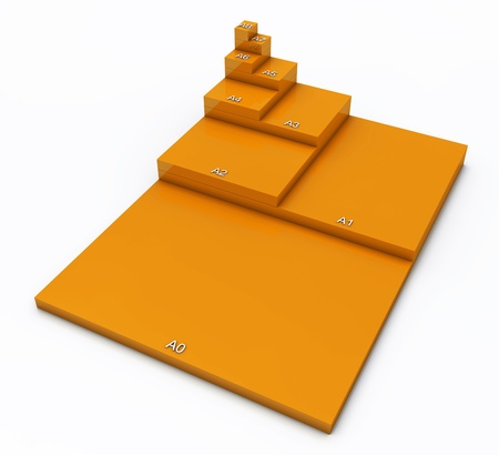 din: 3D format DIN A0 to A8 concept - Orange 02