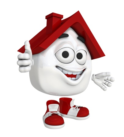 favorable: Small 3d house red - Thumbs Up Stock Photo