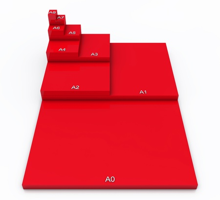 3D format DIN A0 to A8 concept - Red 02 photo