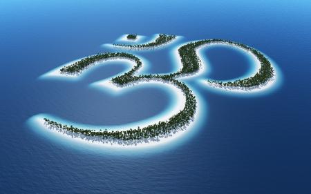 3d om: Aum Om symbol - island concept Stock Photo