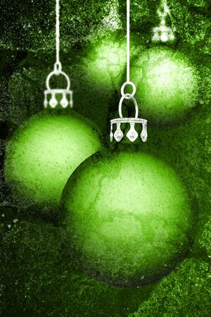 Christmas balls background - Grunge green Stock Photo - 18463380