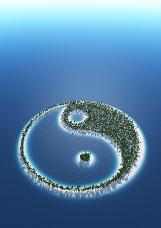 3d aum: Yin and Yang - island concept Stock Photo