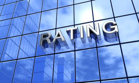 insolvency: Blue Building - Rating Stock Photo