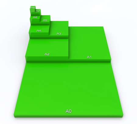 din: 3D format DIN A0 to A8 concept - Green 02