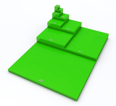 din: 3D format DIN A0 to A8 concept - Green 01 Stock Photo
