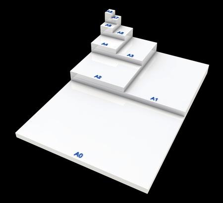 din: 3D format DIN A0 to A8 concept