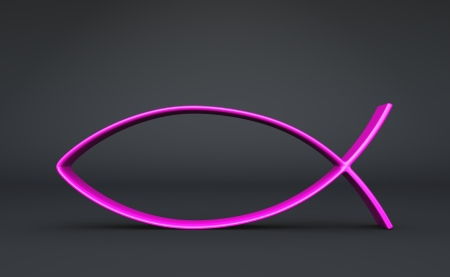 pez cristiano: 3D Pink on Grey Foto de archivo