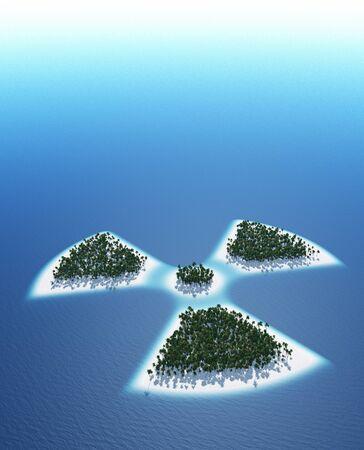 Radioactive symbol - island concept photo