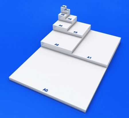 formats: 3D format DIN A0 to A8 concept - white on blue 02 Stock Photo