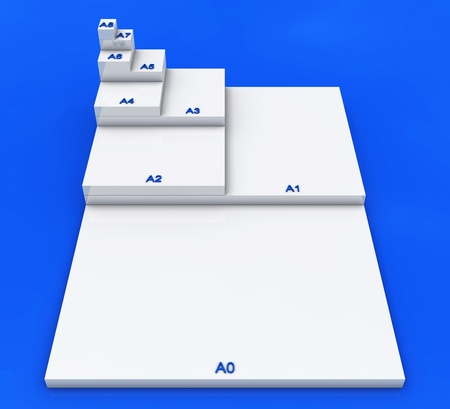 formats: 3D format DIN A0 to A8 concept - White on Blue 01 Stock Photo