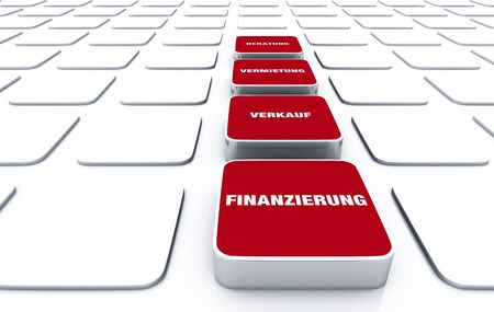 financing: 3D red pads - Rental Sales Financing Advice 6 Stock Photo
