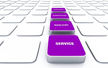 customercare: Cuboid concept violet - consulting skills Quality of Service 8 Stock Photo