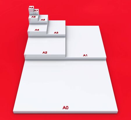 formats: 3D format DIN A0 to A8 concept - White on Red Stock Photo