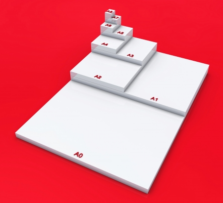 din: 3D format DIN A0 to A8 concept - White on Red 02 Stock Photo