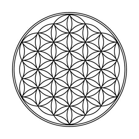 Flower of Life Symbol Black White  Archivio Fotografico