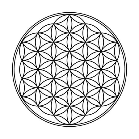 sanskrit: Flower of Life Symbol Black White  Stock Photo
