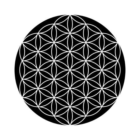 Flower of Life symbol black and white