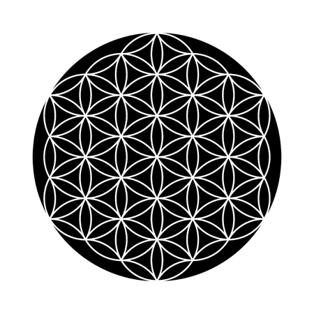 3d aum: Flower of Life symbol black and white