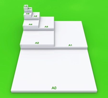 formats: 3D format DIN A0 to A8 concept - White on Green