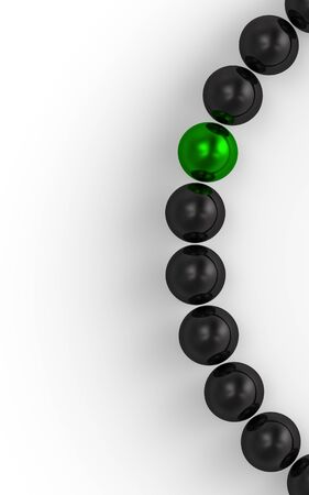 string of pearls: green and black - 3D ball focus