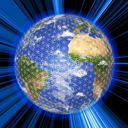 3D-Globus mit Blume des Lebens Symbol