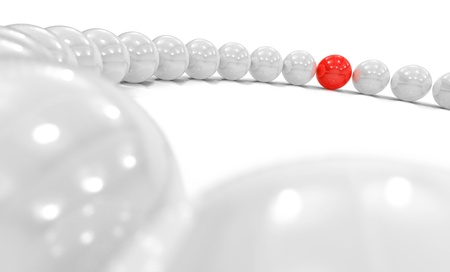 string of pearls: 3D Sphere Circle focus - red white  Stock Photo