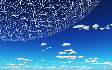 Flower of Life in the sky  Stock Photo