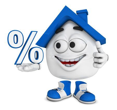 Small 3D House Blue - percent symbol photo