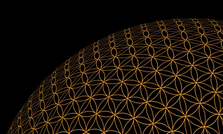 3D Ball - Flower of Life - Black Gold