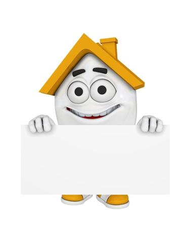 3D Haus mit Billboard - Orange