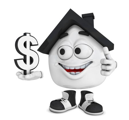 Small 3D House Black - Dollar Symbol photo