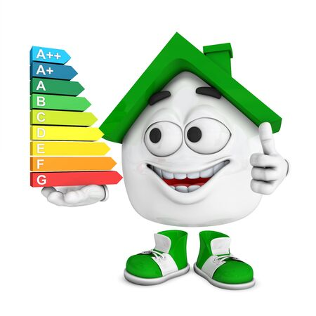 Small green house 3D - Top energy consumption Stock Photo - 18732592