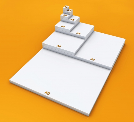 din: 3D format DIN A0 to A8 concept - White on Orange 02 Stock Photo