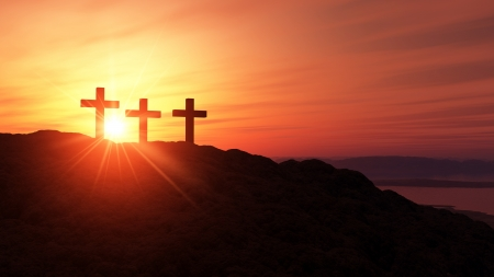 3 crosses on the summit Stock Photo