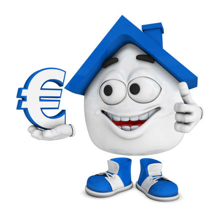 Small 3D House Blue - Euro symbol Stock Photo - 18732590