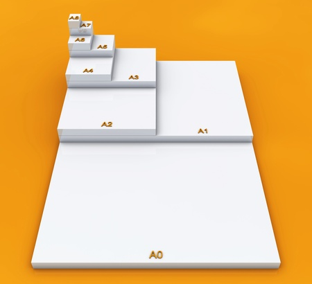 din: 3D format DIN A0 to A8 concept - Weia on Orange 01
