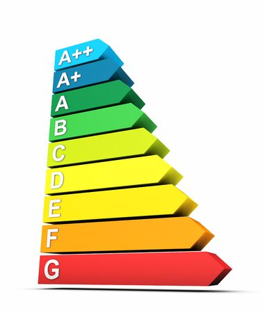 3D Symbol 7 energy efficiency classes Stock Photo - 18732619
