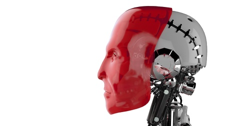Cyborg head red - side view Stock Photo - 18732701