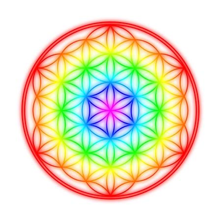 chakras: Flor de la Vida - Rainbow efecto halo en Weia Foto de archivo